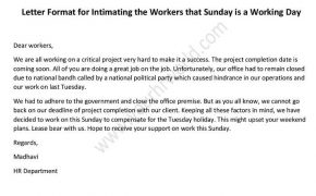 Letter Format for Intimating the Workers that Sunday is a Working Day
