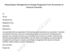 Requesting to Management to Change Designation from Accountant to Financial Controller, Sample letter