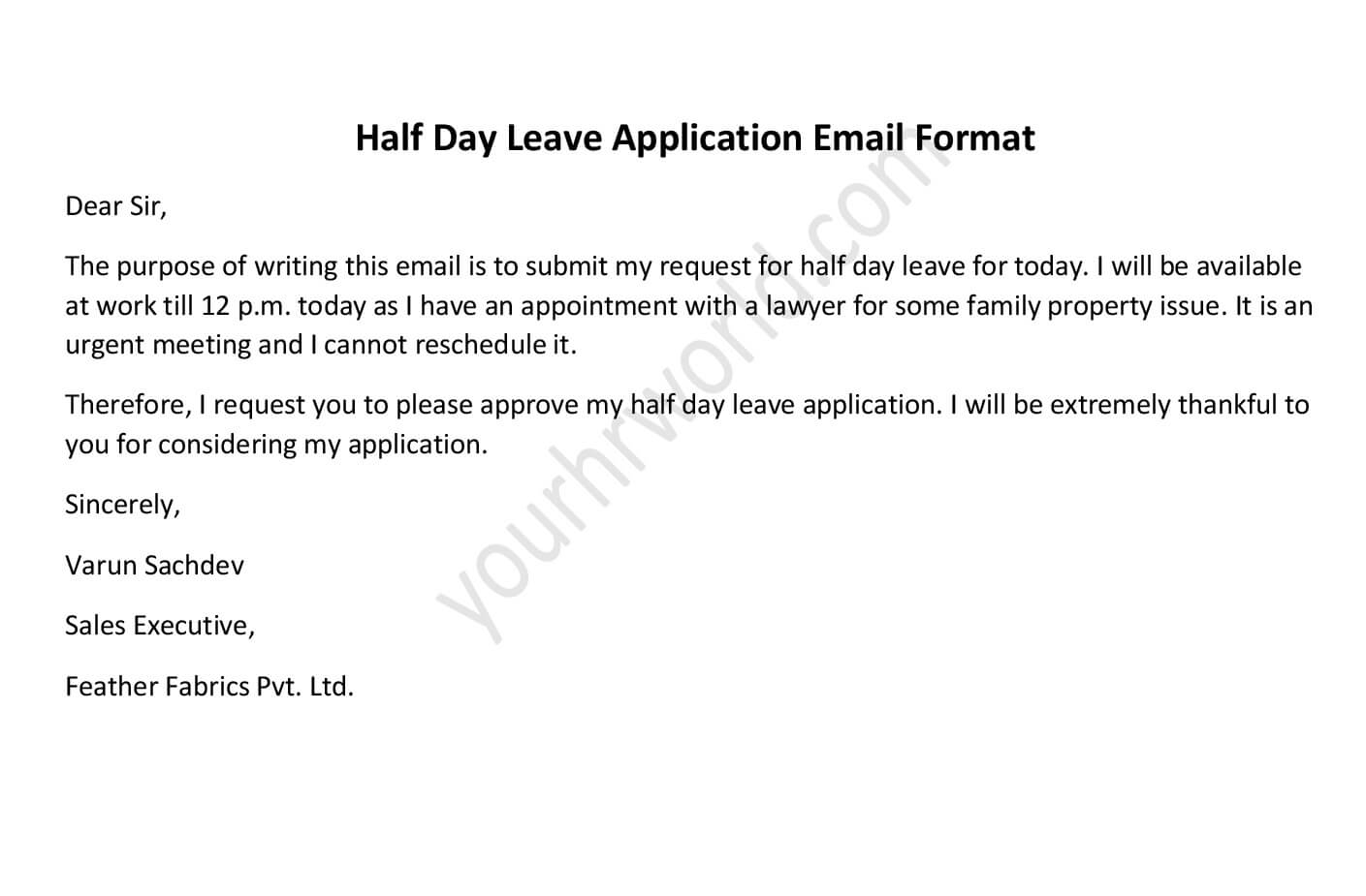 Easy Format of Half Day Leave Application Email