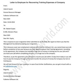 Letter To Employees On Recovery Of Training Expenses, Employees Letter format