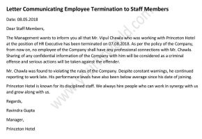 sample Letter Informing Staff About Employee Termination