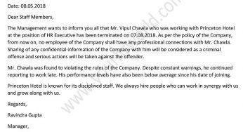 Letter To Inform Staff Of Employee Termination from www.yourhrworld.com