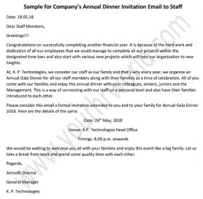 Annual dinner invitation email to staff, Company Party Invitation mail, Sample Invitation Letter