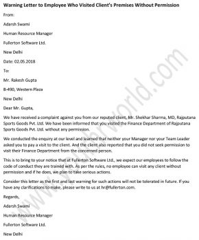 Warning Letter To Employee Who Visited Client's Premises Without Permission