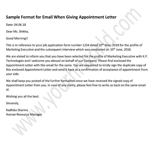 Format-for-Email-When--Appointment-Letter Job Application Formal Sample on form for un, personal statement for, letter introduction for, approved information for, letter for fresher high school graduate, letter intent, quad graphics, form filled out,