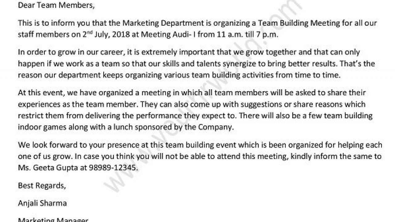 Team Building Meeting Invitation Email