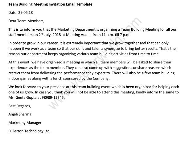 Team Building Meeting Invitation Email Sample Hr Letter