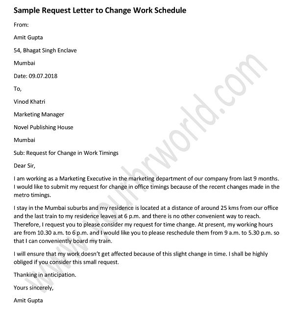 Request Letter For Approval Of Change In Office Timing