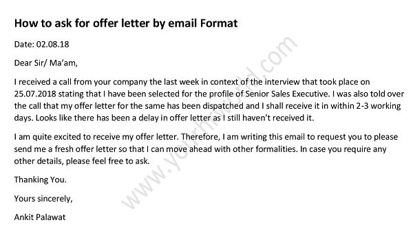 How To Ask For Offer Letter By Email Waiting For Offer