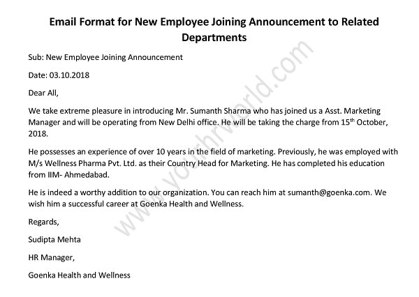 email format for new employee joining announcement to