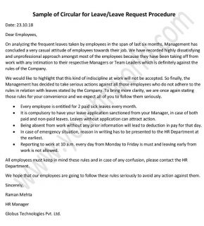 Sample of Circular for Leave, Leave Request Procedure - leave memo application