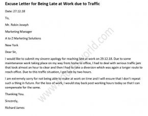 excuse letter for being late excuse letter for being late at work due to traffic hr 22362 | excuse letter for being late at work due to traffic 290x228