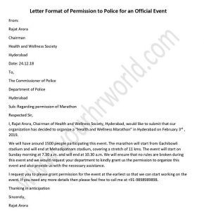 police permission letter for official events - Permission Letter Sample - request letter