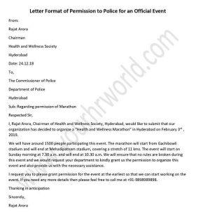 Police Permission Letter for Official Event - HR Letter Formats