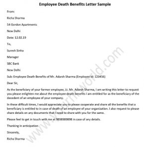 Employee Death Benefits Letter Sample, Template