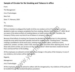 Sample of Circular for No Smoking in office - no smoking letter format
