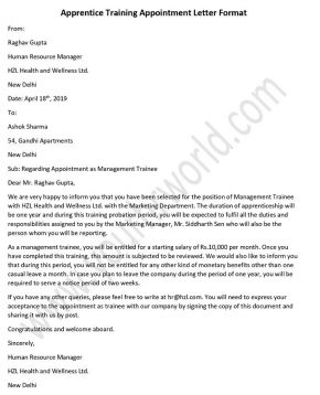 Apprentice Training Appointment Letter Format
