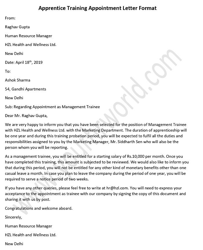 appointment letter for apprentice trainees