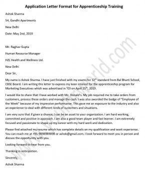 Application Letter Format for Apprenticeship Training