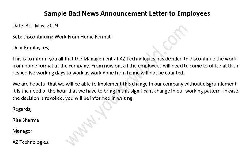 Sample Letter to Announce a Bad News to Employees