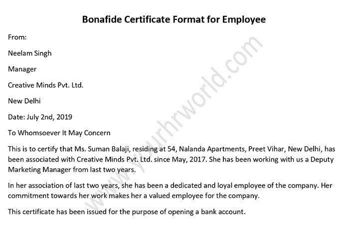 Bonafide Certificate Format for Employee Employment