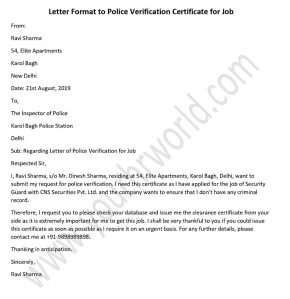 Police verification certificate letter, Police Clearance letter format for Job