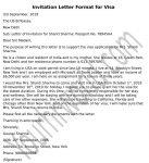 Invitation Letter Sample - Invitation letter for Visa Application