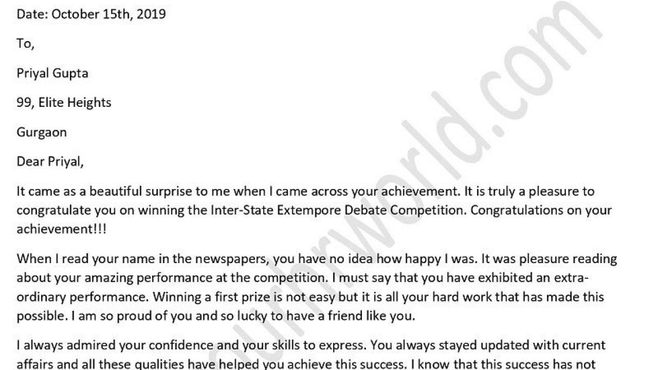 Congratulations Letter On Achievement from www.yourhrworld.com