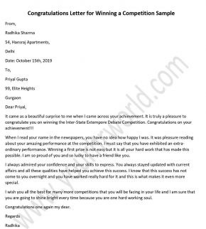 Congratulations Letter for Winning a Competition Sample