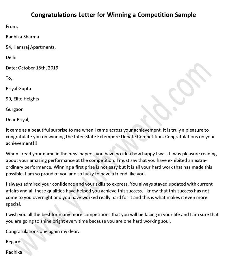 Congratulation Letter For Award from www.yourhrworld.com