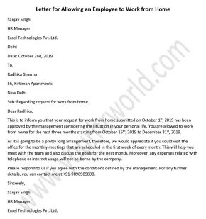 Work from Home Request Letter Sample