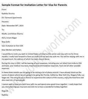 Sample invitation letter for visa for parents, UK, USA, australia