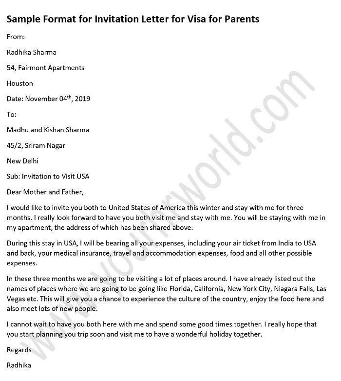 Sample Invitation Letter For Visitor Visa from www.yourhrworld.com
