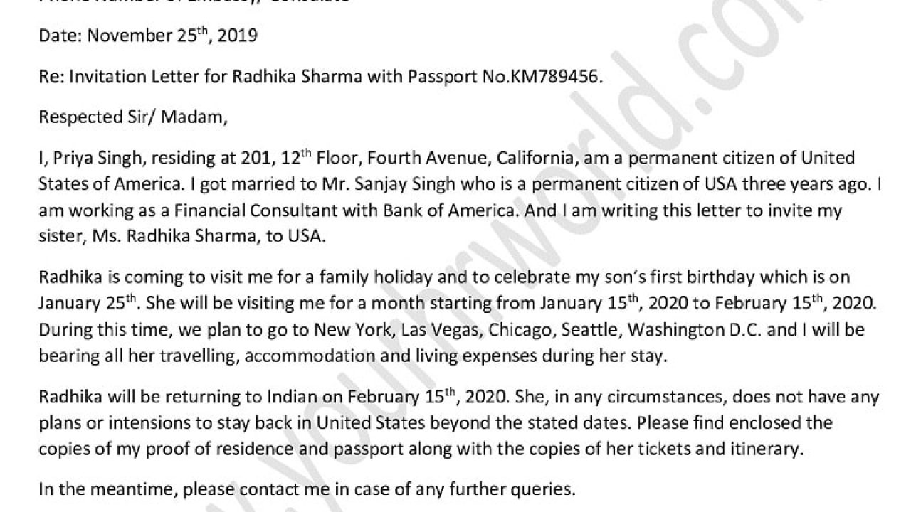 Sample Invitation Letter For Tourist Visa Sister