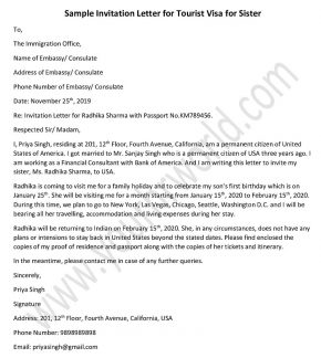 Invitation Letter for Tourist Visa for Sister