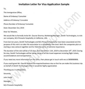 invitation letter for visa application - Sample invitation template