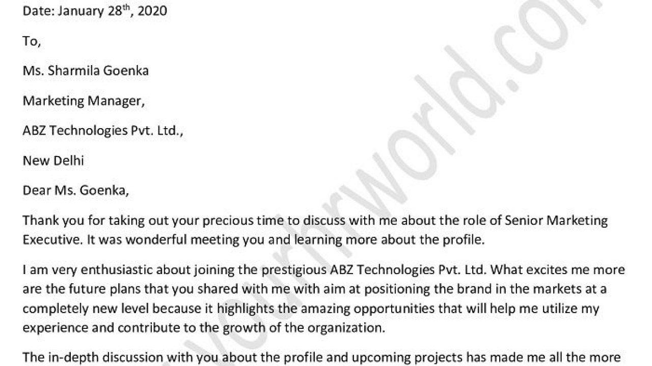 Job Interview Follow Up Letter from www.yourhrworld.com