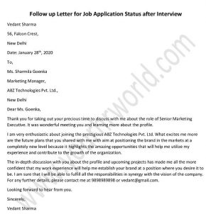 Follow up Letter for job application status after interview - Follow up Email Format