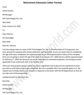 Retirement Extension Letter Format