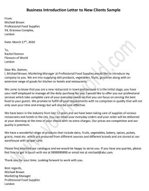 Business Introduction Letter to New Clients - Sample Introduction Letter