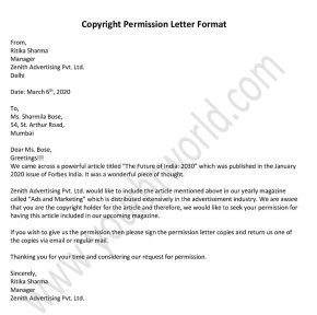 Request Copyright Permission Letter, Permission Letter Format, Template