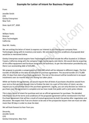 Letter of Intent for Business Proposal - Business Proposal Letter