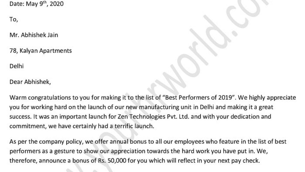 Working Letter To Employee from www.yourhrworld.com