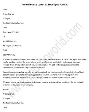 Annual Bonus Letter to Employee, Performance Bonus Letter Sample