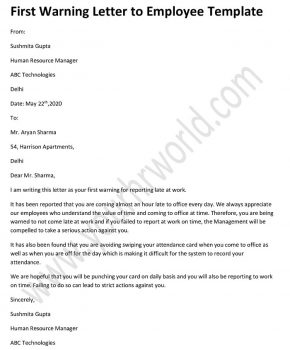 First employee warning letter Template - Warning Letter sample format