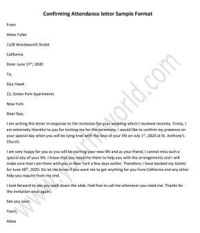 Confirming Attendance Letter, Confirmation Letter Format