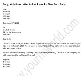 Congratulations Letter to Employee for New Born Baby