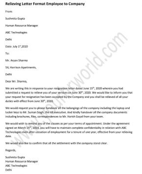 Relieving letter from employee to company - Relieving Letter Format