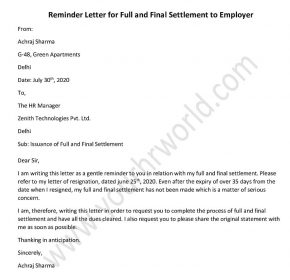 Reminder Letter For Full and Final Settlement to Employer