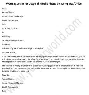 Warning Letter for Mobile Phone Use at Workplace, warning letter cell phone